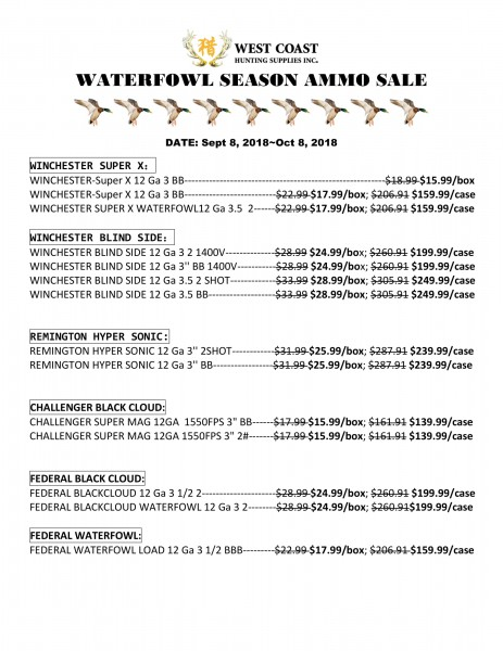 WATERFOWL SALE LIST-1